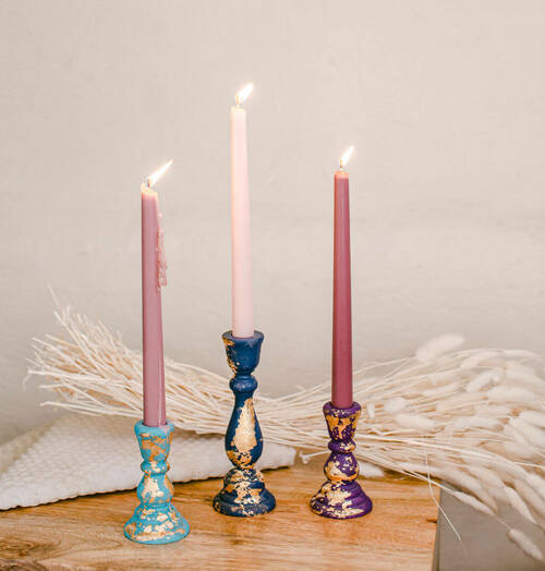 "6-3/4"" candlestick, 6-3/4 inch candlestick, candlestick, bulk unfinished wooden candlestick for DIY crafting projects."