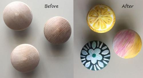 DIY Wooden Knob Drawer Pulls Makeover Craft Idea.