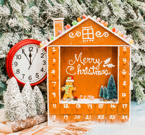 Unfinished Wooden Advent Christmas Calendar Large Scene House