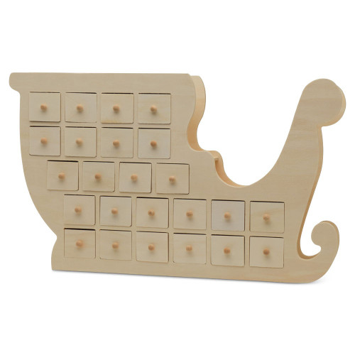 Unfinished Wooden Christmas Sleigh Advent Calendar