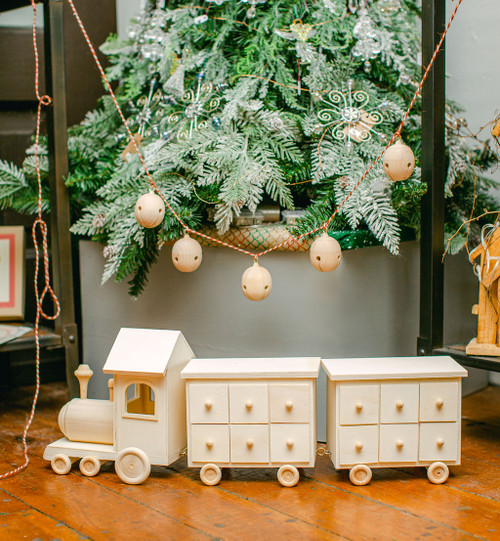 Unfinished Wooden Christmas Train Advent Calendar