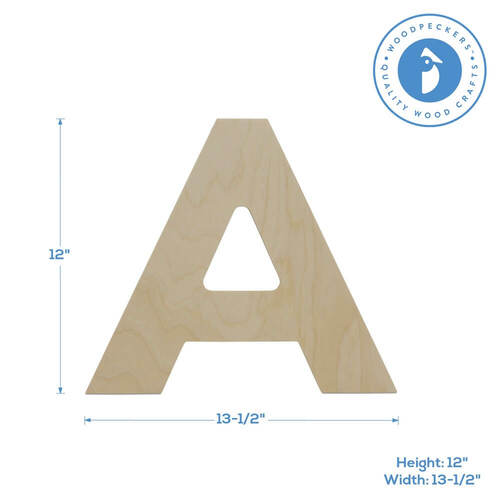 Wood Cutout Letter A, 12""