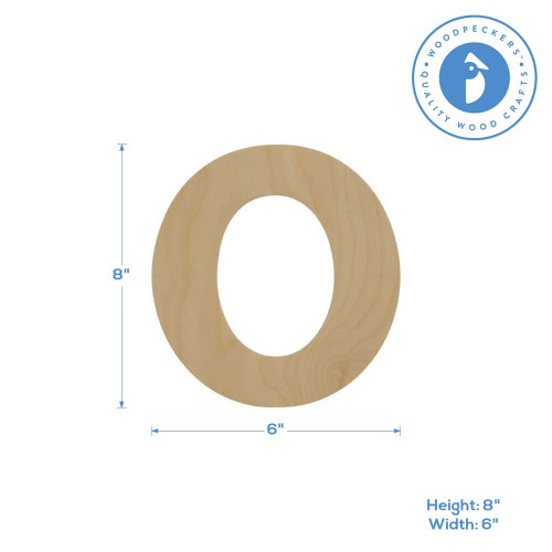 """Wooden Number 0 Cutout, 8"""""""