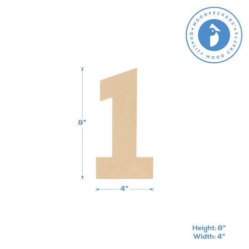 """Wooden Number 1 Cutout, 8"""""""