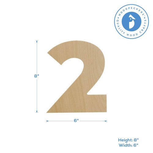 Wooden Number 2 Cutout, 8""