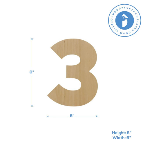 Wooden Number 3 Cutout, 8""