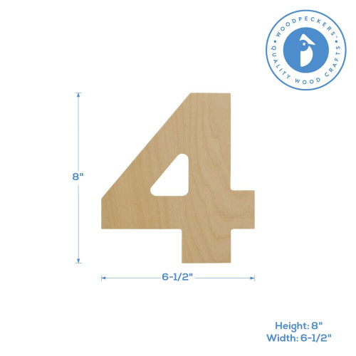 Wooden Number 4 Cutout, 8""
