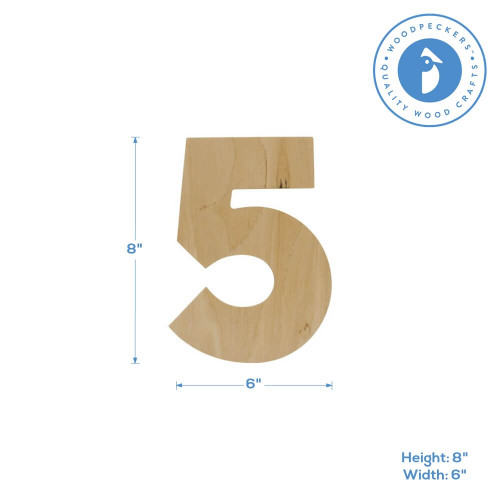 Wooden Number 5 Cutout, 8""