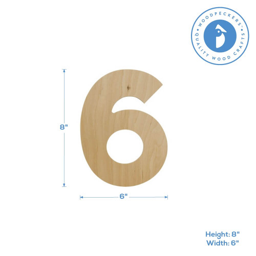 Wooden Number 6 Cutout, 8""