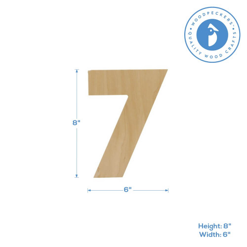 Wooden Number 7 Cutout, 8""