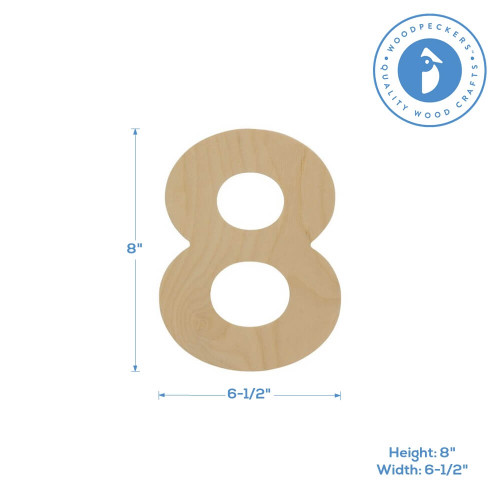 """Wooden Number 8 Cutout, 8"""""""