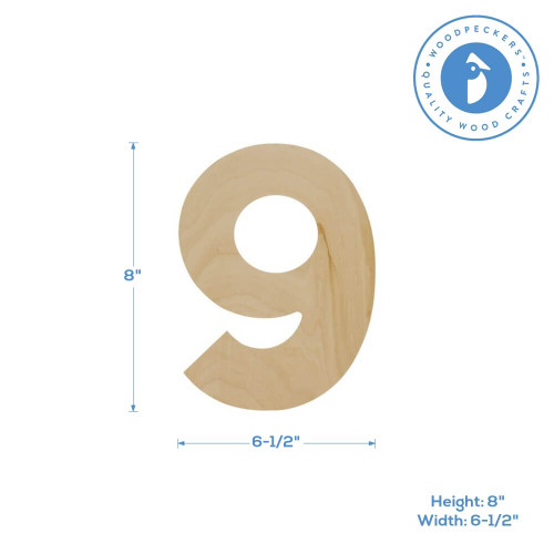 Wooden Number 9 Cutout, 8""