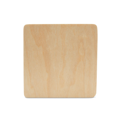 Wooden Coaster, Square with Rounded Edges,  4""