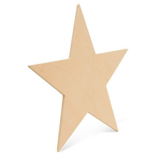 Wood Star Cutout, 4""