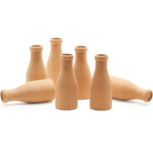 Group of Miniature Unfinished Wood Milk Bottles, 2""