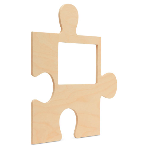 """Wood Puzzle Piece Cutout, 12"""" x 12"""",  with 4"""" x 6"""" Photo Frame"""