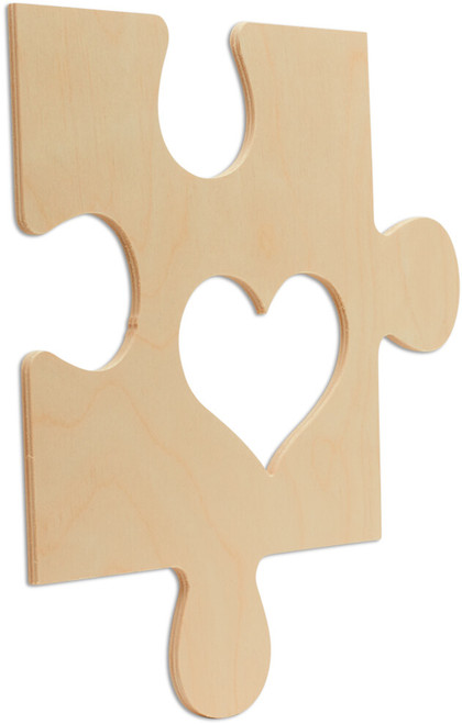 """Wood Puzzle Piece Cutout, 12"""" x 12"""",  with Heart Shaped Frame"""