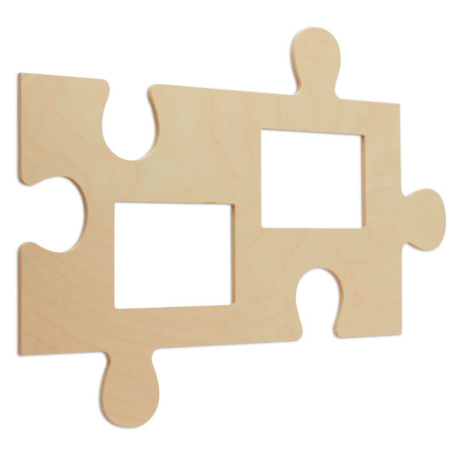 """Wood Puzzle Piece Cutout, 21"""" x 12"""",  with Two  4"""" x 6"""" Photo Frames"""