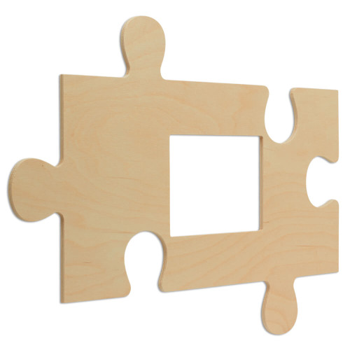 """Wood Puzzle Piece Cutout, 21"""" x 12"""",  with  5"""" x 7"""" Photo Frame"""