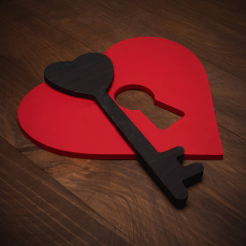 Wood Heart with Keyhole Cutout and Wooden Key