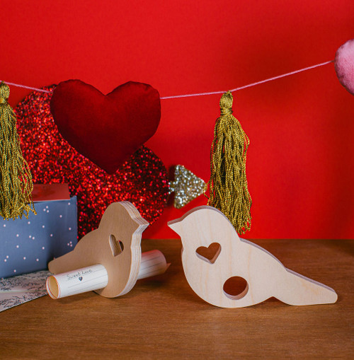 "Wood Valentine Love Bird Messenger Cutout, 6"" x 5"" x 1/2"""