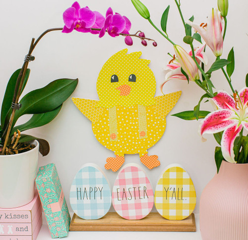 "Wood Easter Chick  Cutout Large, 12"" x 10"""