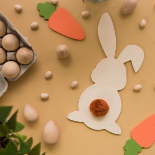 "Wood Easter Bunny Cutout Small,  6"" x 3"""