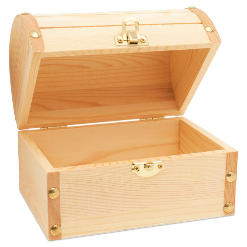 treasure chest craft box for preschool projects.  Unfinished Treasure Chest Style Gold Hinged Wood Box to paint and decorate. diy unfinished wood hinged boxes.