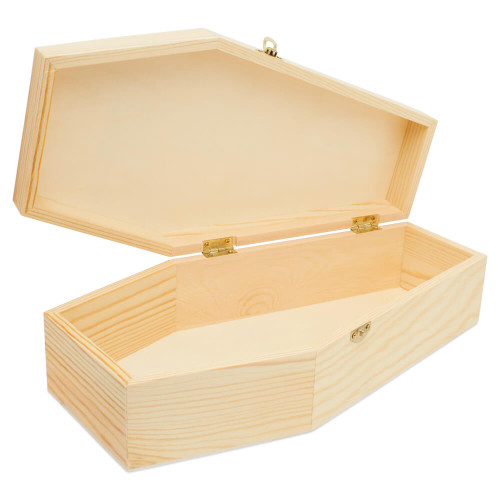 """Unfinished wooden small coffin , 12""""."""