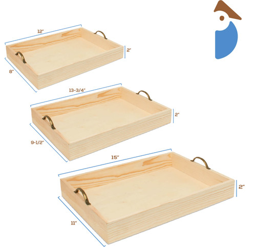 Unfinished Wood Trays with Metal Handles Set of Three