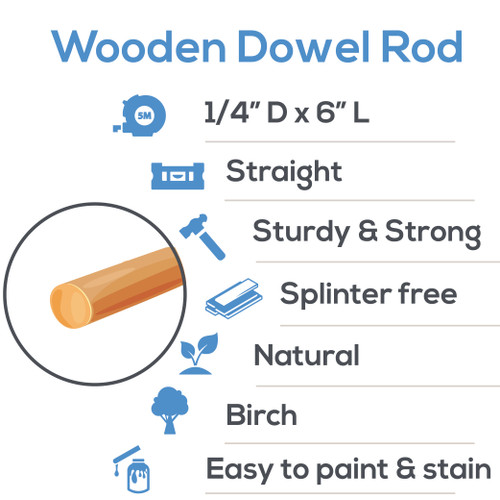 "wooden dowel rods 1/4"" x 6"" hardwood dowel rods for DIY crafting and woodworking projects"