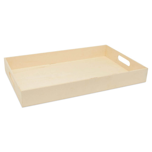 Unfinished Wood Nesting Trays with Cutout Handles, Set of 6