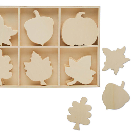 Unfinished Wood Sorting Tray with Autumn Cutouts