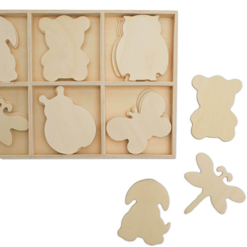 WOOD SORTING TRAY WITH NATURE CUTOUTS, Animals and Creatures Theme