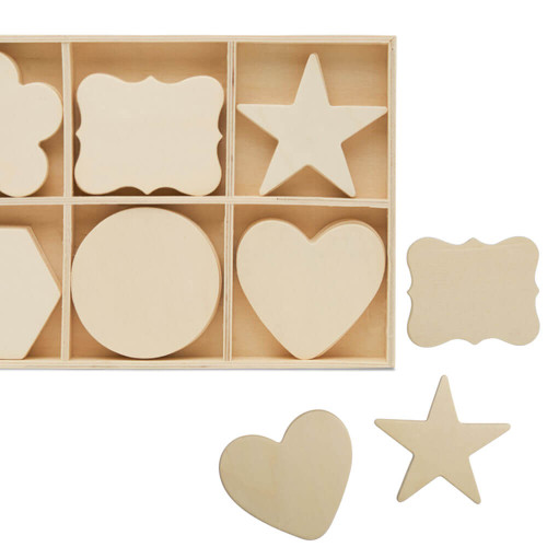 WOOD SORTING TRAY WITH SHAPE CUTOUTS