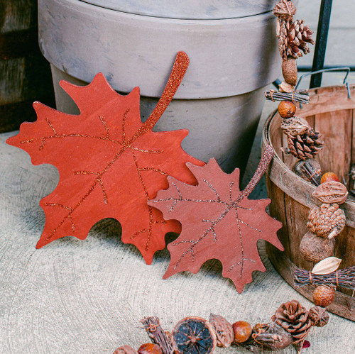 "Wood Maple Leaf  Cutout Large, 12"" x 10"""