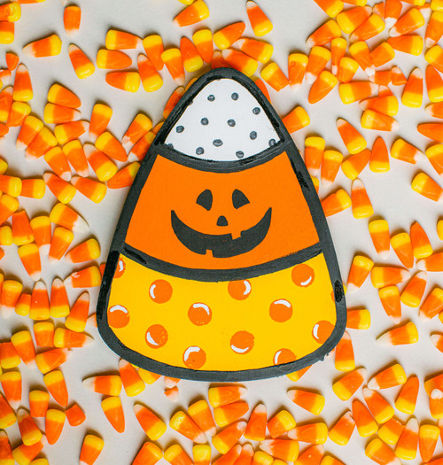 "Unfinished Wood Candy Corn Cutout Small, 8"" x 6.3"", for Crafting"
