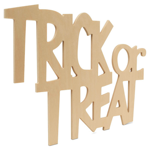 """Wood Halloween Trick Or Treat Cutout, 17.7"""" x 12"""" for Crafting"""