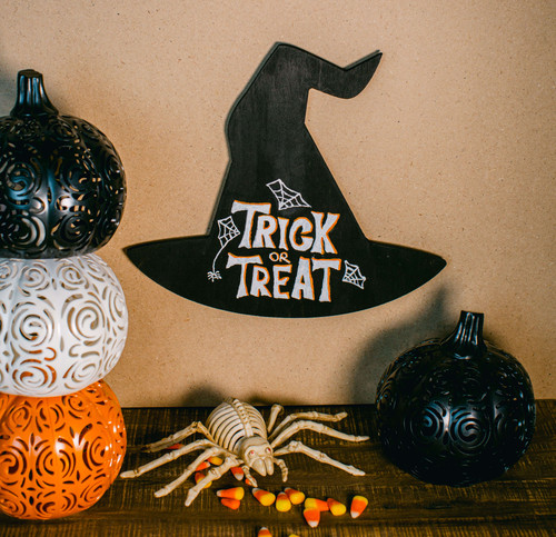 """Wood Halloween Witch's Hat Cutout Large, 12"""" x 10.5"""" for Crafting"""