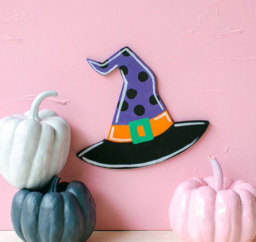 "Wood Halloween Witch's Hat Cutout Large, 8"" x 7"" for Crafting"