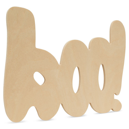 """Unfinished Wood Halloween Boo Cutout,  12"""" x 8.75"""" for Crafts"""