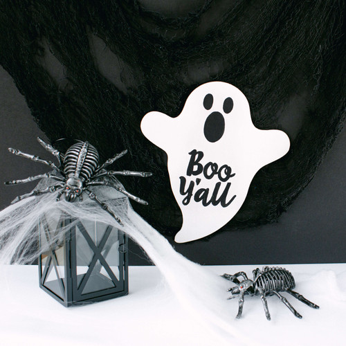 "Unfinished Wood Halloween Ghost Cutout, Small  8"" x 7"" for Crafting"