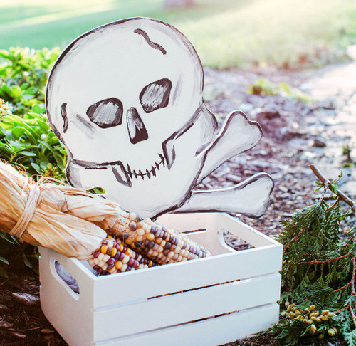 "Wood Halloween Skull Cutout, Large  12"" x 11.7"""