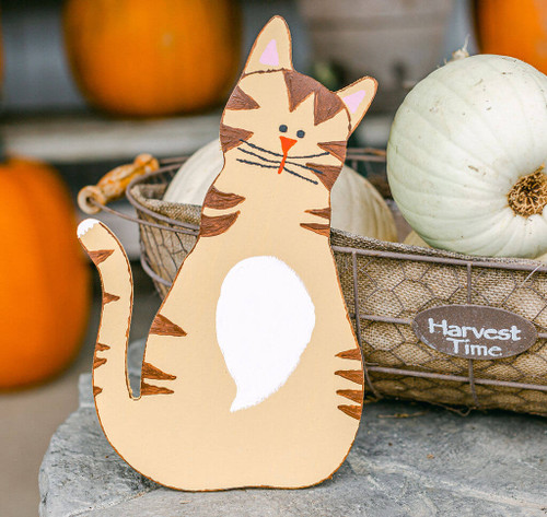 "Wood Halloween Cat Cutout, Small 8"" x 4.8"""