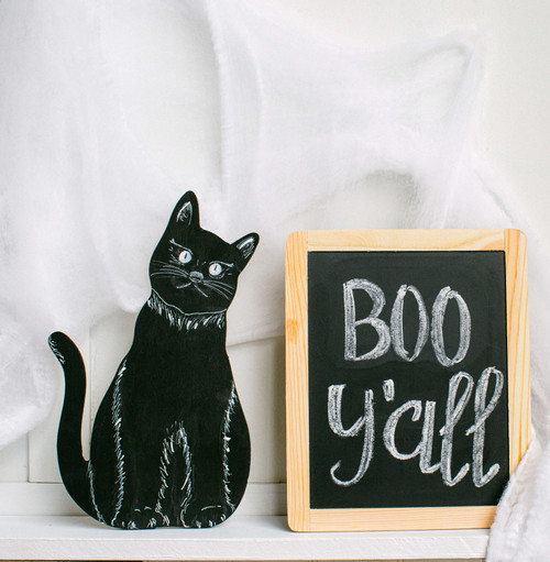 "Wood Halloween Cat Cutout, Large 12"" x 7.3"""