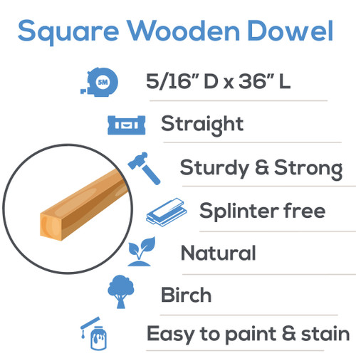 """5/16"""" x 36"""" Square Wooden  Dowel Rods"""