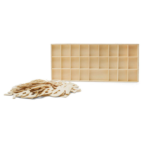 Unfinished Wood Sorting Tray with Alphabet Cutouts