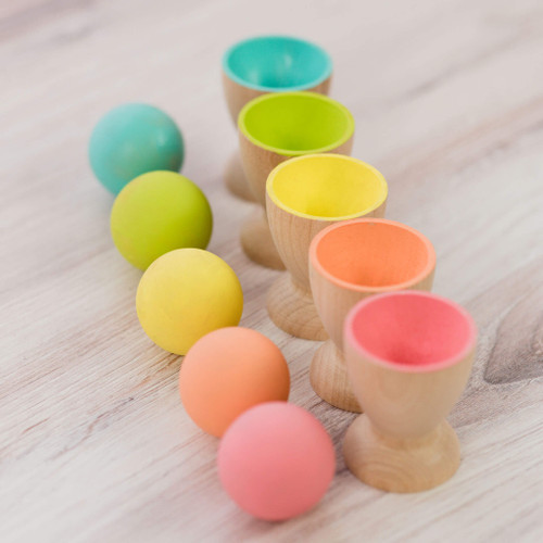Wooden Egg Cup Holders for Loose Parts Play