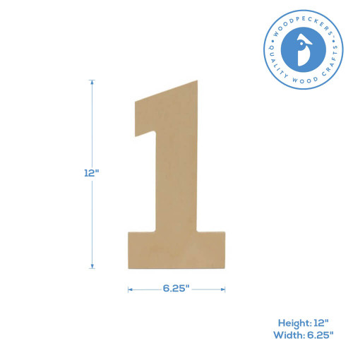 """Wooden Number 1 Cutout, 12"""""""