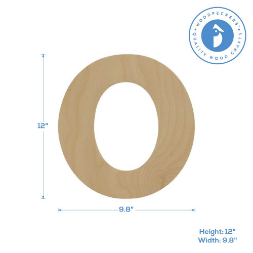"""Wooden Number 0 Cutout, 12"""""""